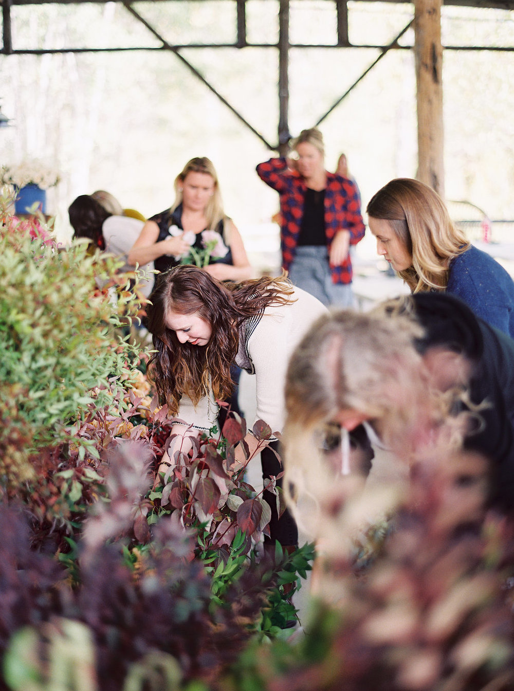 Selecting flower at the Wild West Flower Workshop