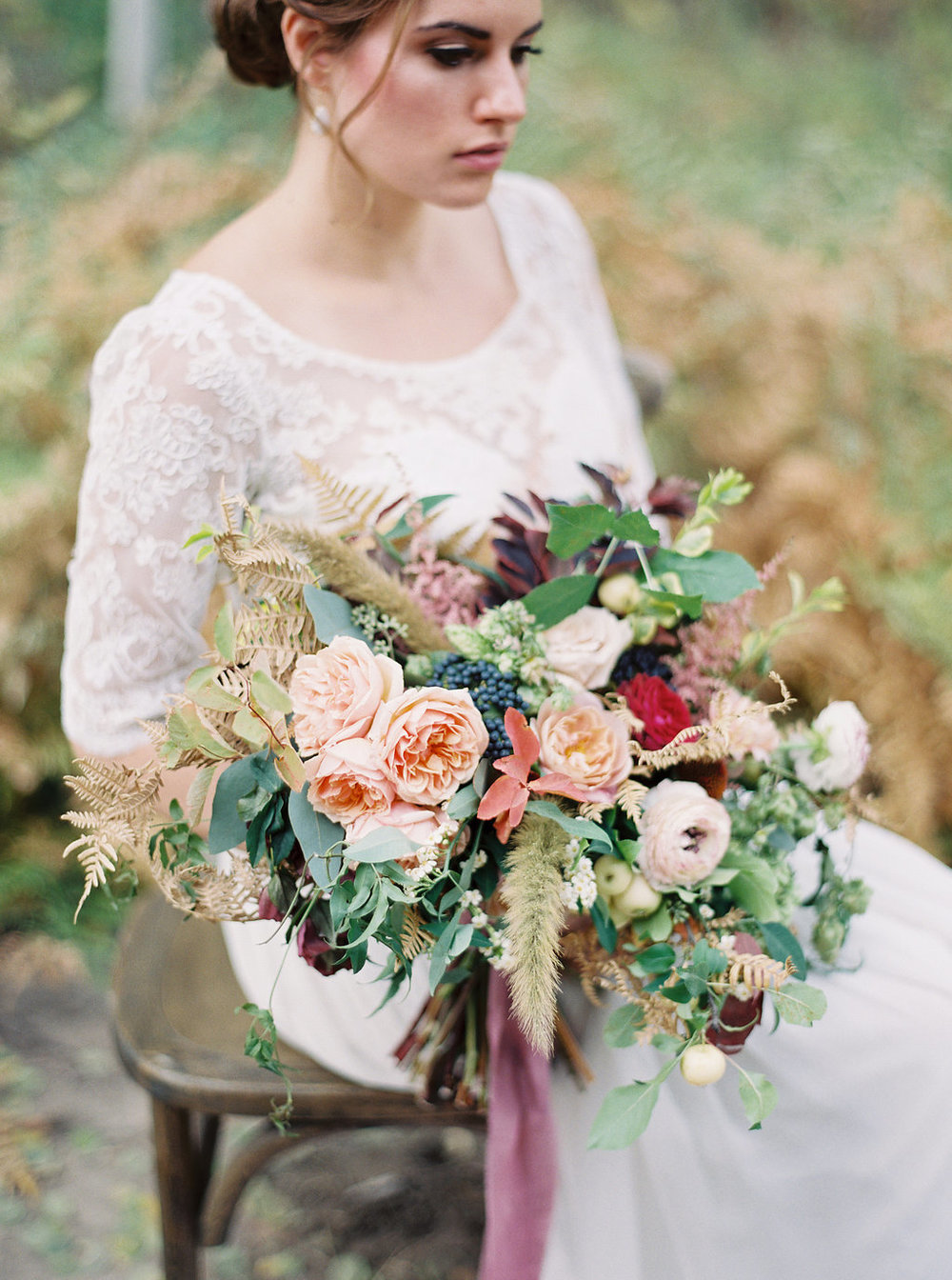 Loose, organic bridal bouquet with garden roses, berries, and hops // Nashville Floral Designer