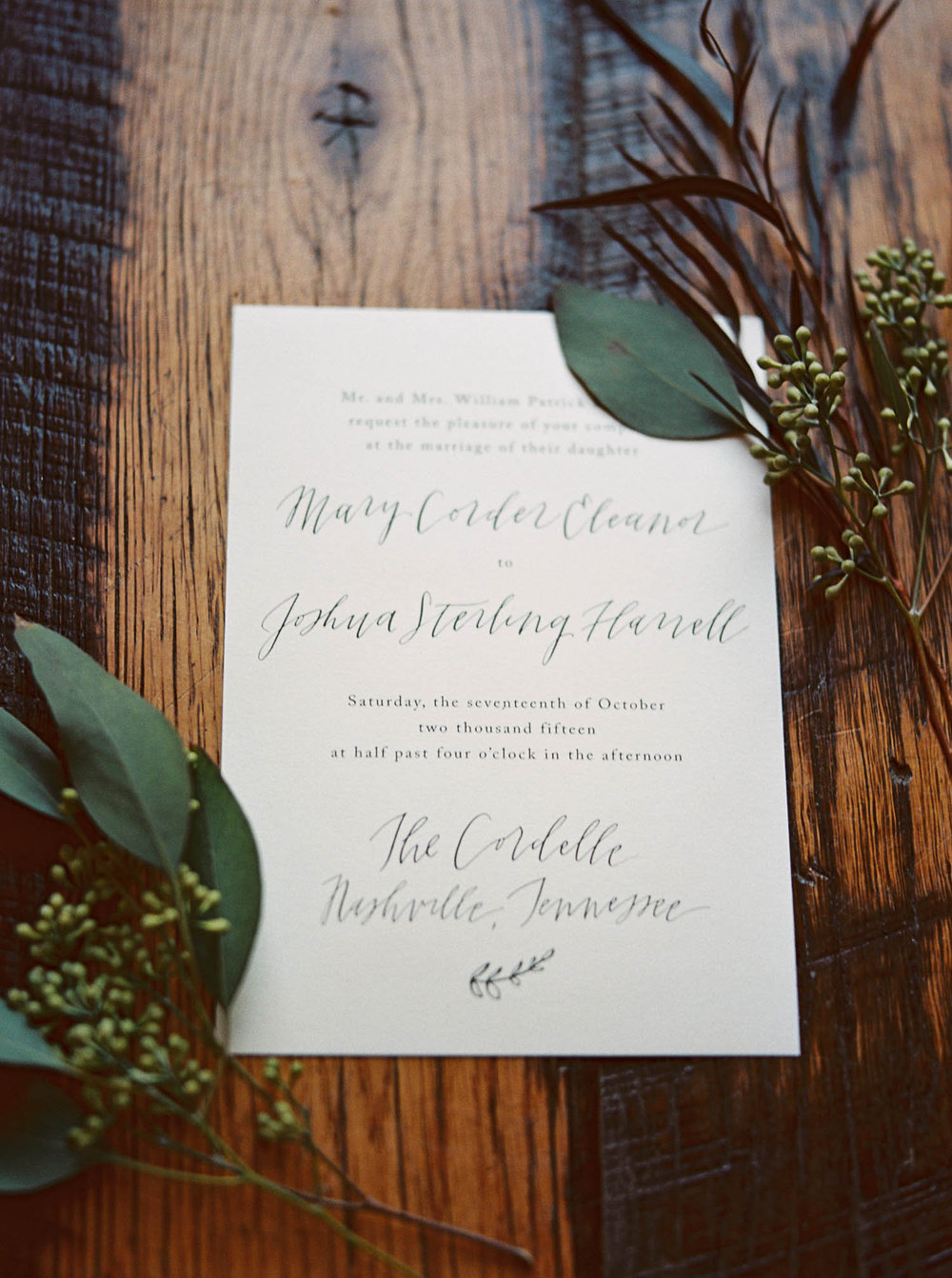 Simple calligraphy wedding invitation