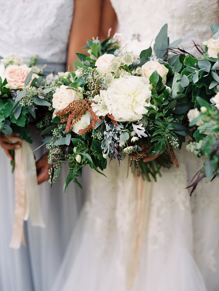 Cream peonies and organic, untamed greenery // Nashville Destination Wedding