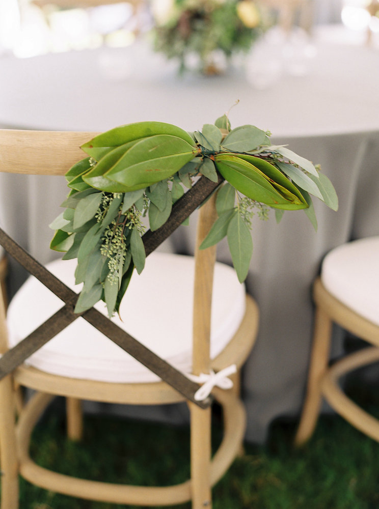 Sweetheart table chair swag // Cheekwood Botanical Garden Wedding Floral Design