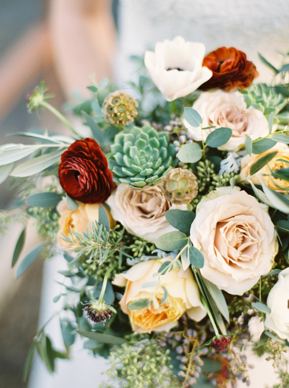 Ranunculus, Succulents, Garden Roses, and lush greenery // Destination wedding florist