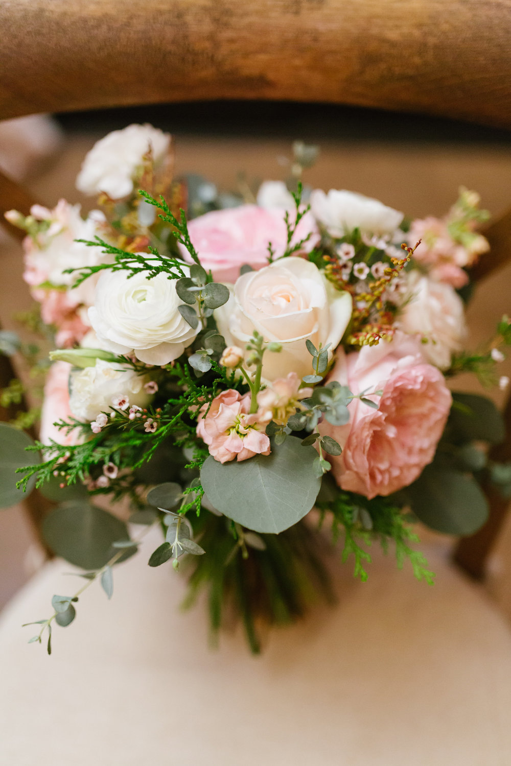 Bridal bouquet with David Austin garden roses and ranunculus