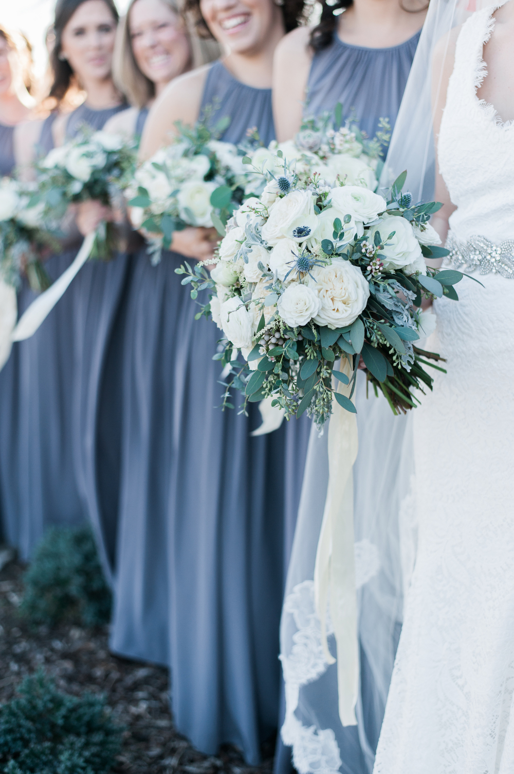 Wintry gray and white bridesmaid style // Organic floral design