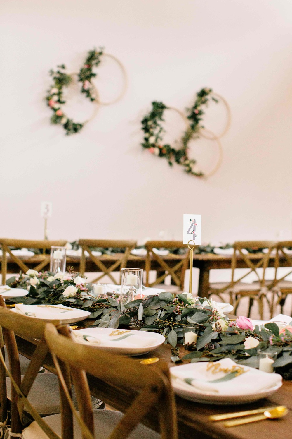 Organic garlands of greenery and flowers // floral table runners