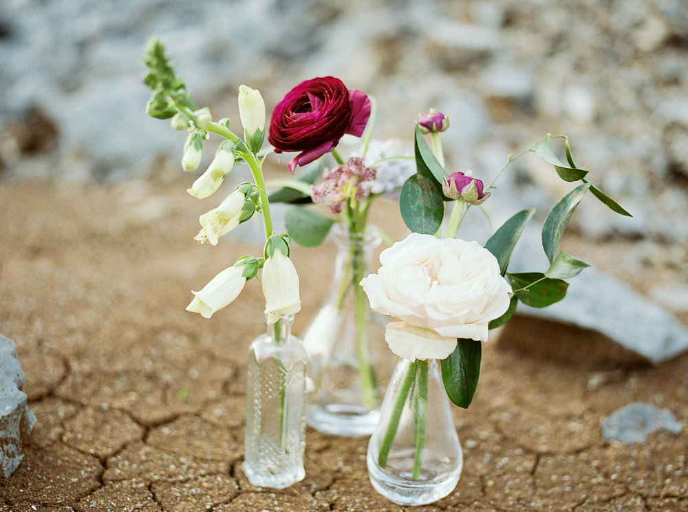 Simple bud vases of foxglove, garden roses, and ranunculus // Nashville Wedding Florist