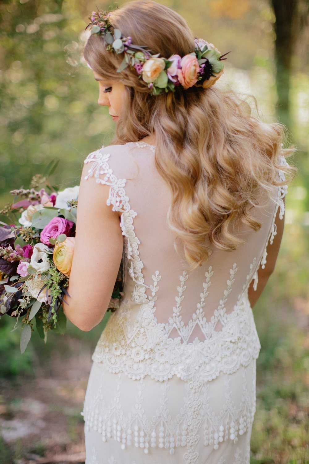 Bride's Flower Crown with floral in the back // Nashville Wedding Florist