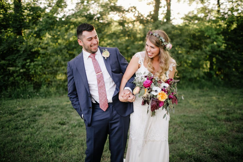 Bohemian Fiesta Bride and Groom // Nashville Wedding Florist with natural, loose style