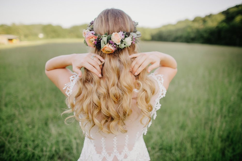 Colorful, bohemian bridal flower crown