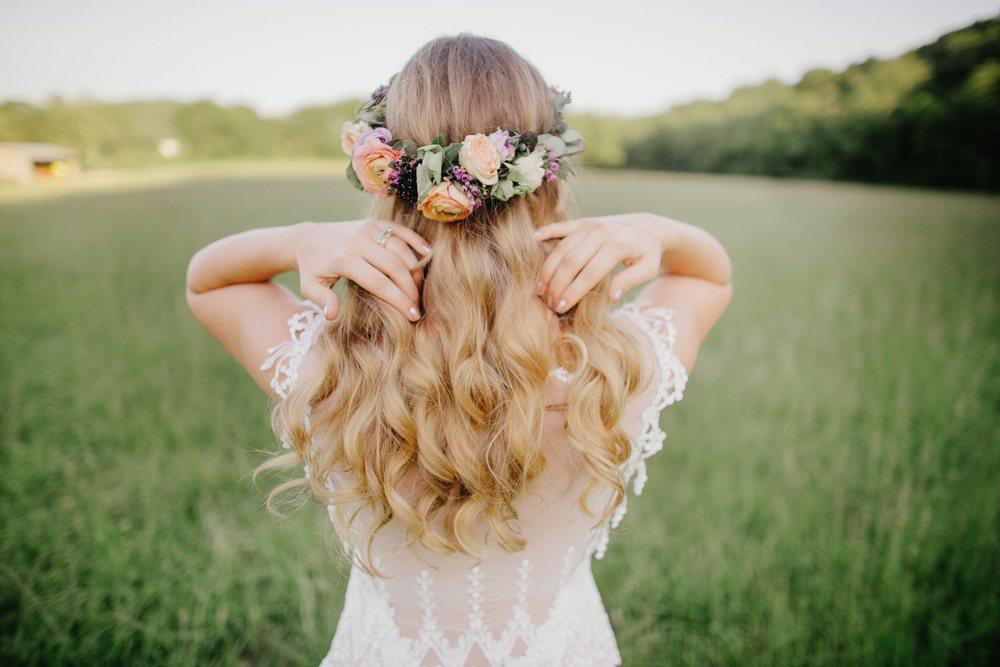 Colorful, bohemian bridal flower crown