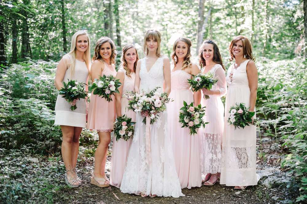 Blush and neutral bridesmaid style // Bridal party portraits in the woods