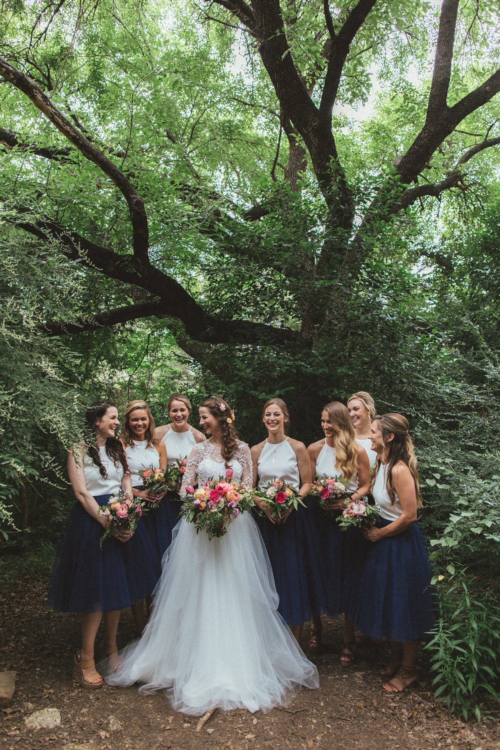 Bridesmaids in the woods // Lush, natural floral design for weddings in Dallas and Nashville
