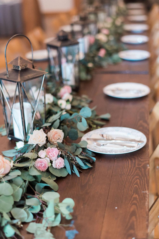 Lush floral garland for head table // Nashville Wedding Florist, Traveller Rest