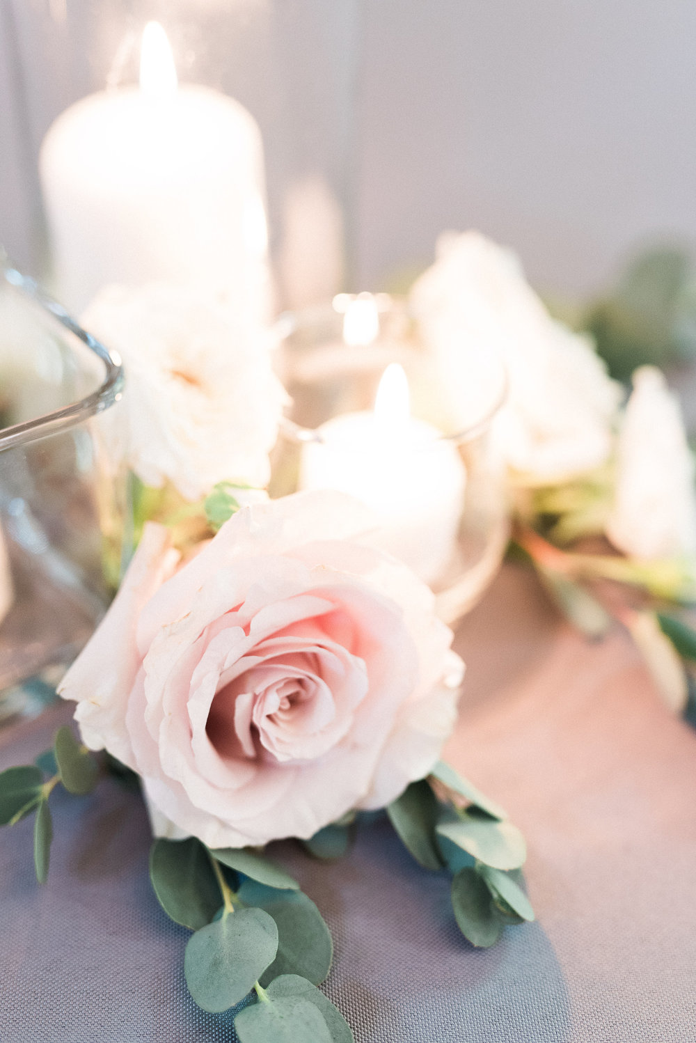 Blush and neutral floral accents for candles // Nashville Wedding Florist