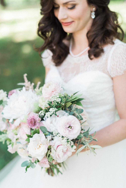 Pale pink and ivory natural floral design // Nashville Spring Wedding Florist
