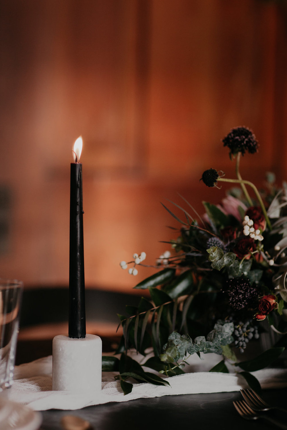 Marble candle holders, lush, wintry floral // Nashville Wedding Florist