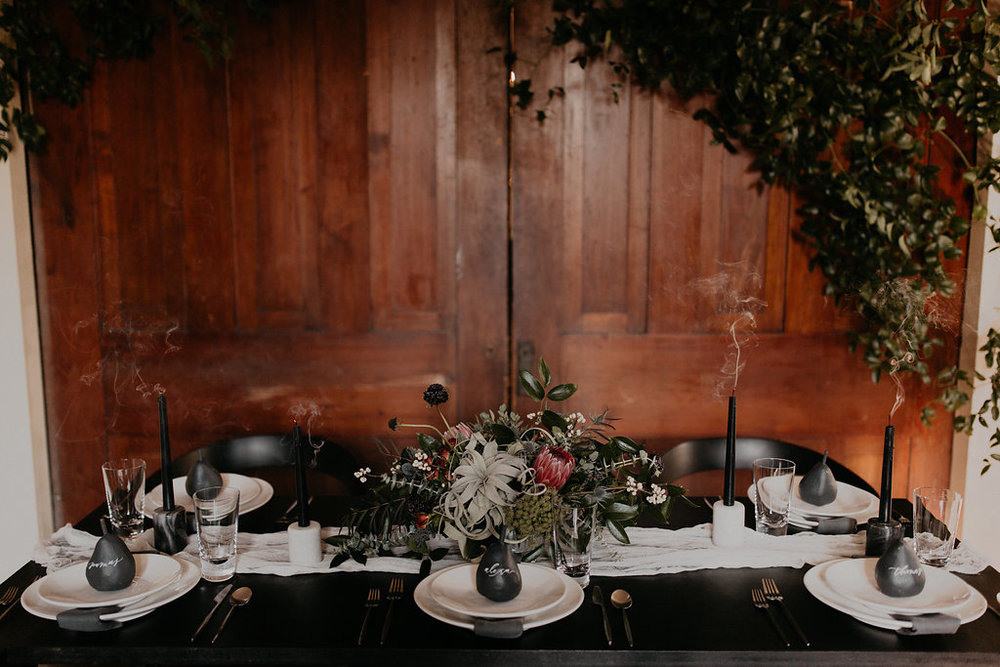 Winter Wedding Inspiration with marble, charcoal, black and gray color palette // Nashville Wedding Florist