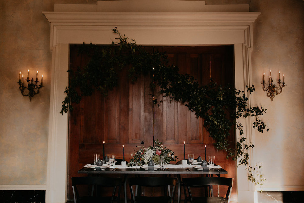 Winter Wedding Inspiration with marble, charcoal, black and gray color palette with lush, untamed greenery // Nashville Wedding Florist