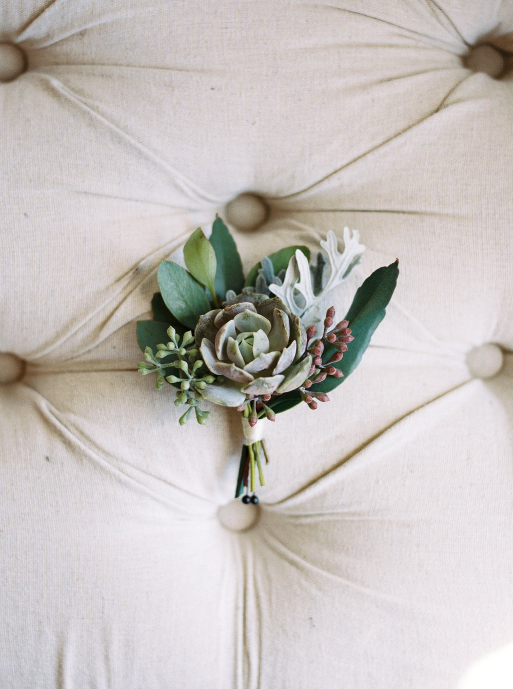 Succulent and Greenery Boutonniere // Nashville Wedding Floral Design