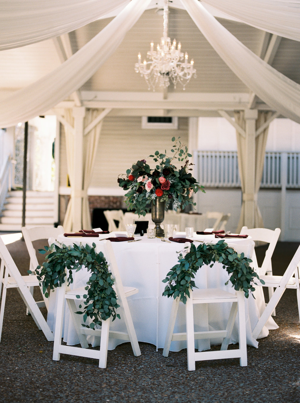 White Gazebo Wedding in Franklin, TN // Burgundy and Deep Red Floral Design
