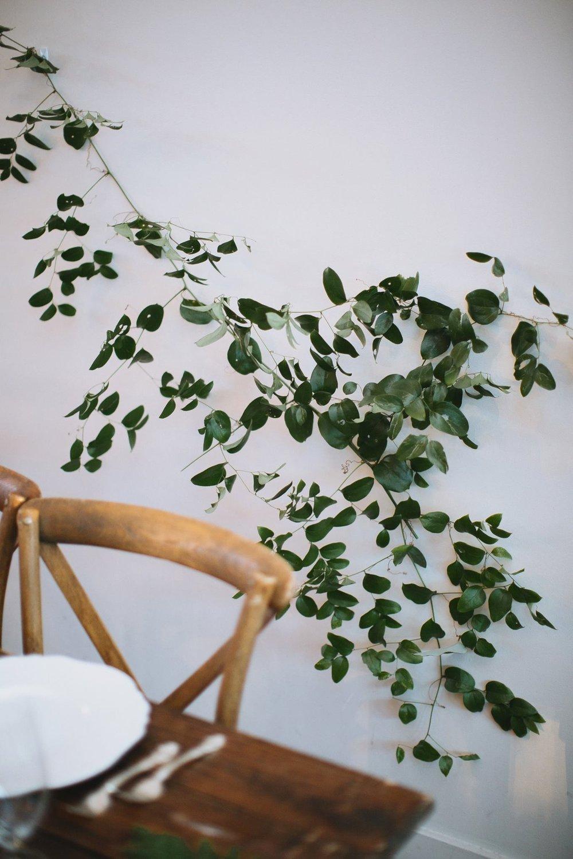 Greenery Installation on White Wall // Nashville Wedding Florist