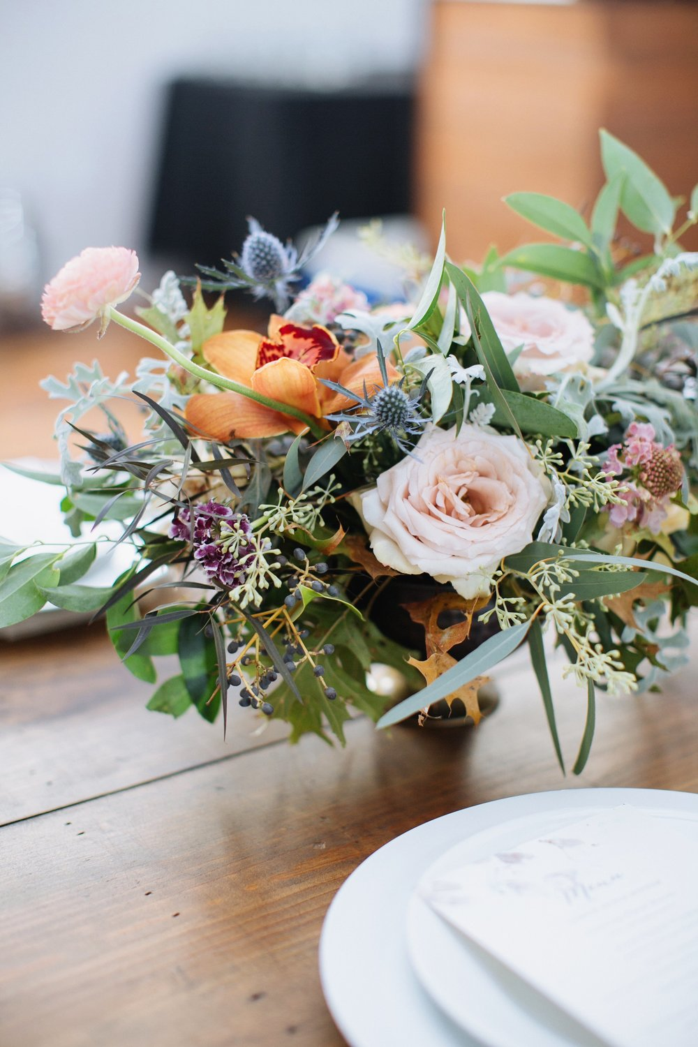 Natural floral centerpiece with garden roses and ranunculus // Nashville Wedding Floral Design