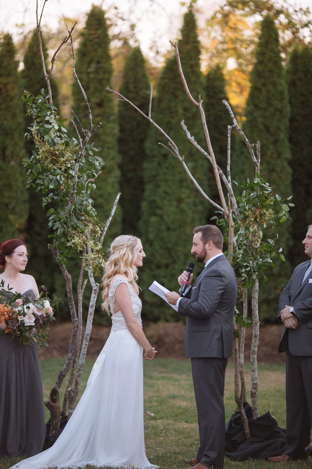 Organic tree branch wedding backdrop // Nashville Florist