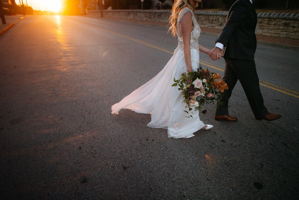 Sunset newlywed portraits with lush, romantic bouquet in blush and copper hues // Nashville Florist