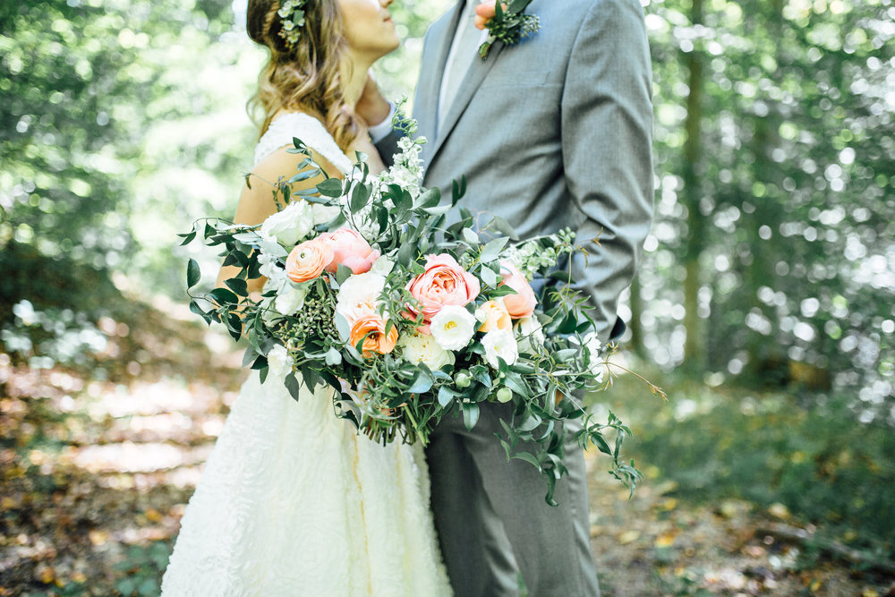 Natural, organic bridal bouquet with garden roses and ranunculus // Nashville Wedding Florist