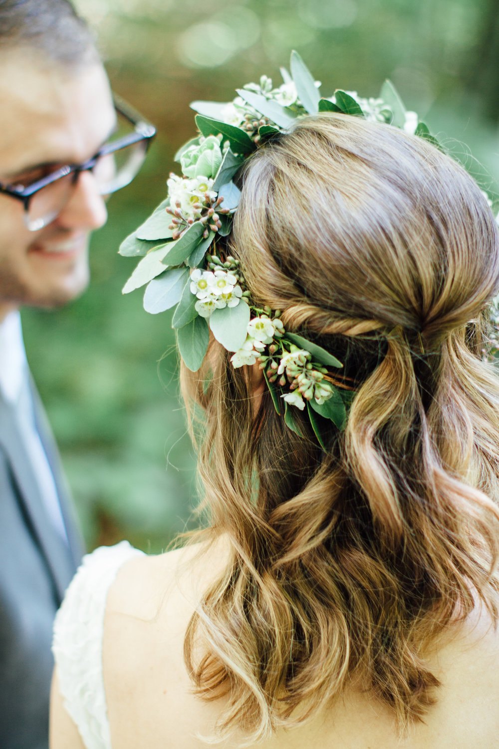 Bride's Flower Crown with mostly eucalyptus // Southern Wedding Florist