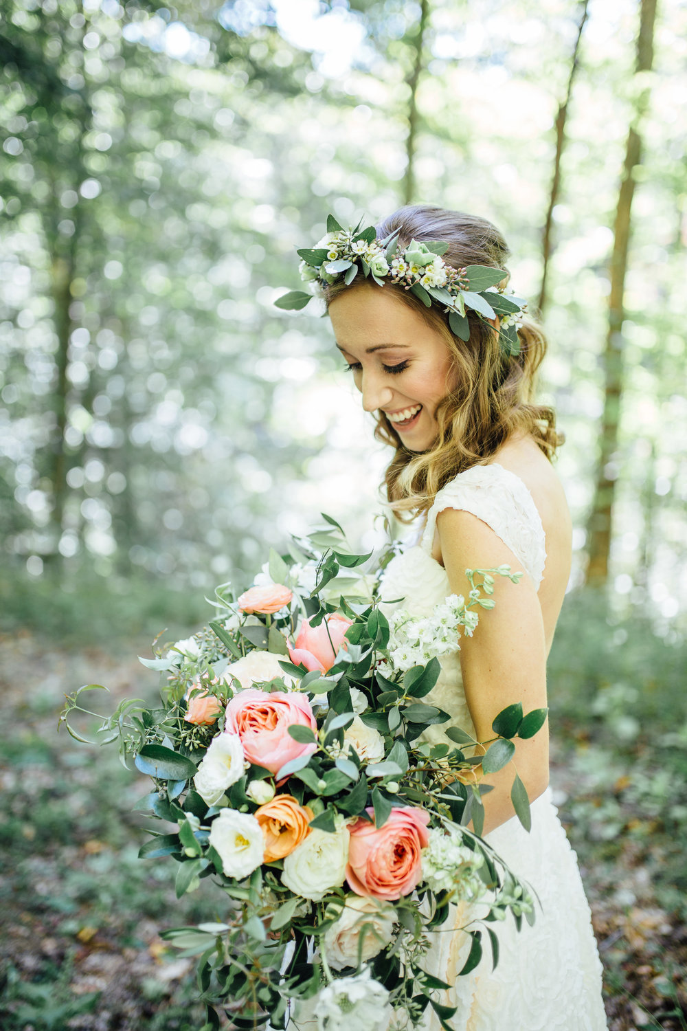 Natural, organic bridal bouquet with garden roses and ranunculus and flower crown // Nashville Wedding Florist