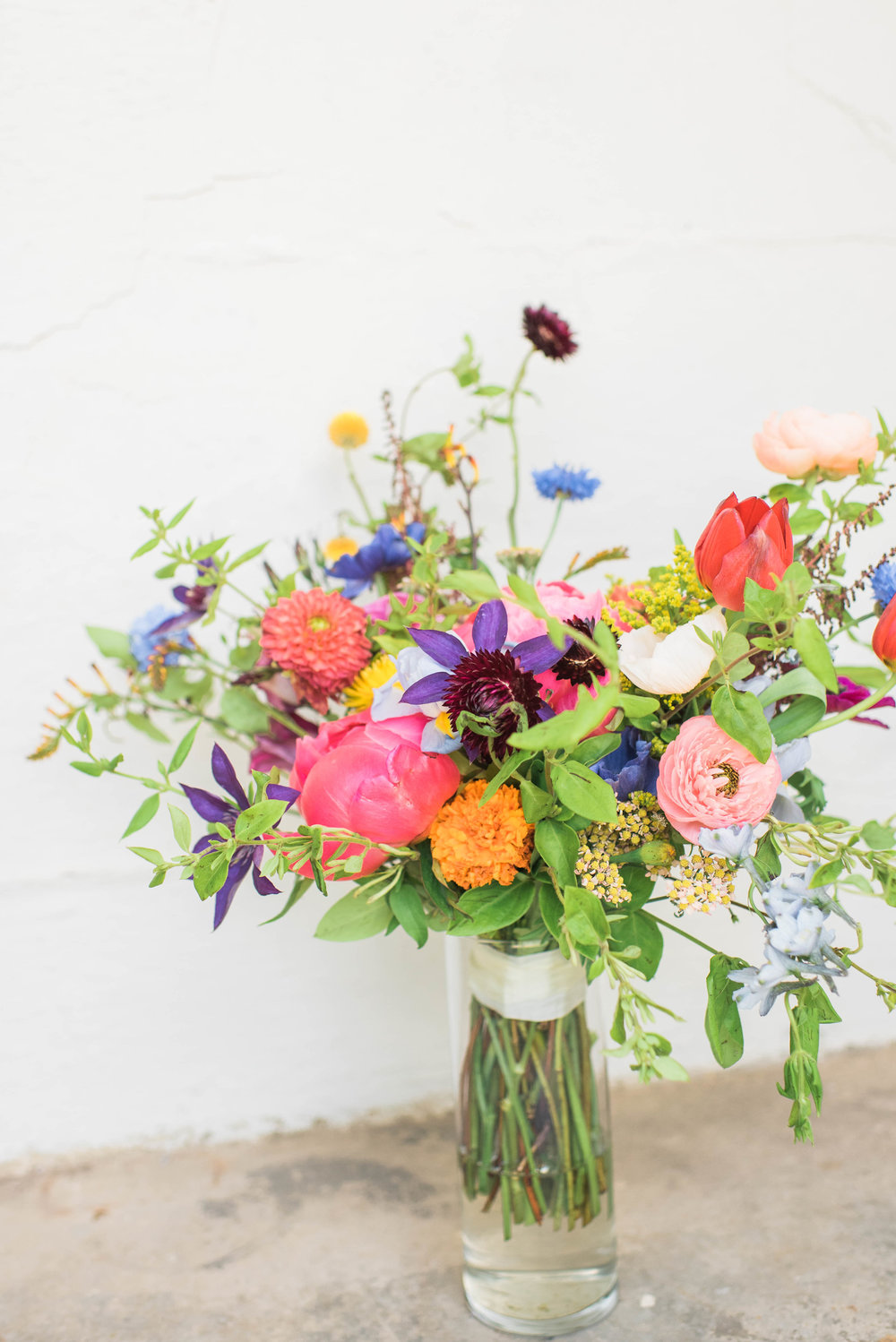 Natural, wildflower style bridal bouquet with bright colors // Chagall inspired wedding flower in Nashville