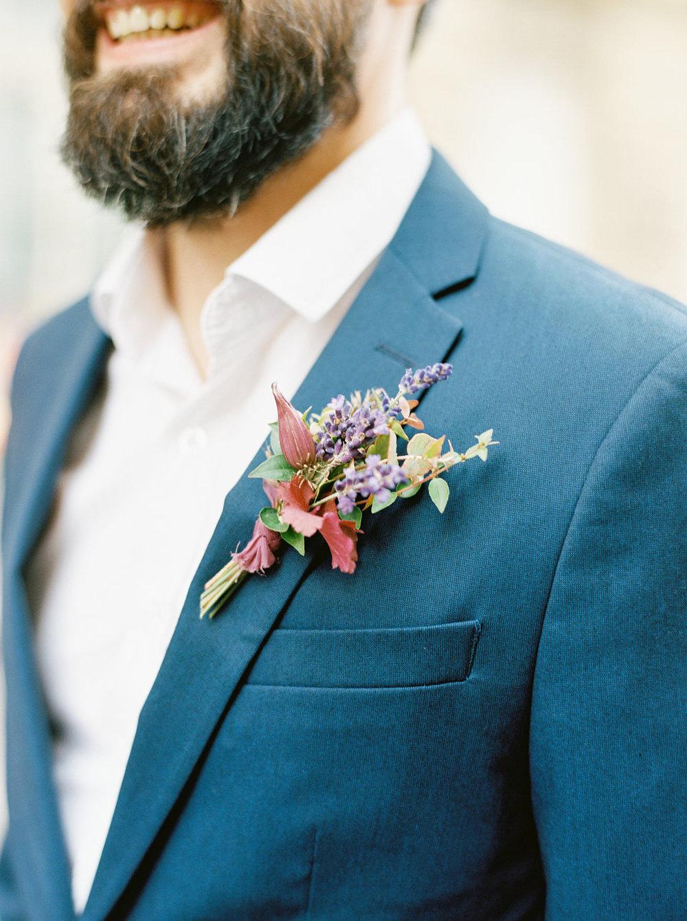 Parisian lavender boutonniere // Paris Wedding Floral Design