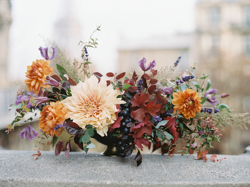 Paris Elopement Floral Design // Lush, untamed wedding flowers with dahlias and grapes