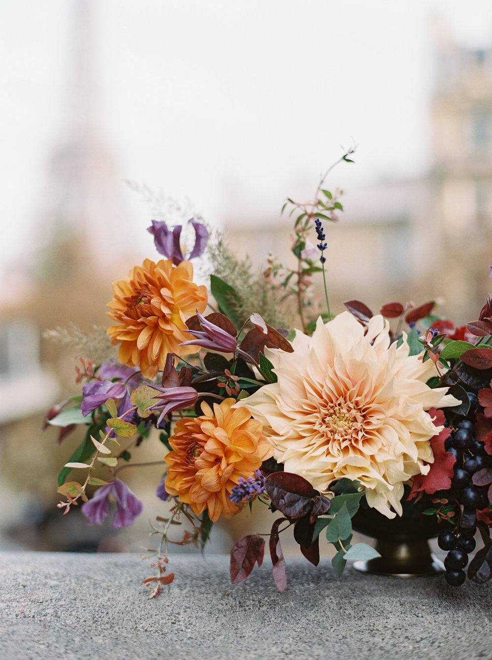 Paris Elopement Floral Design // Lush, untamed wedding flowers
