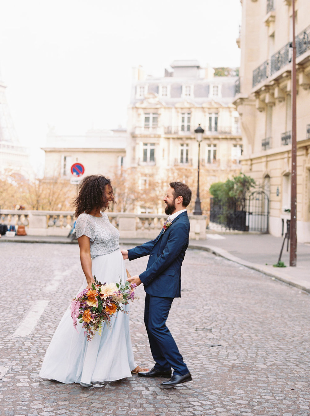 Paris Elopement in front of the Eiffel Tower // Lush, natural wedding flowers