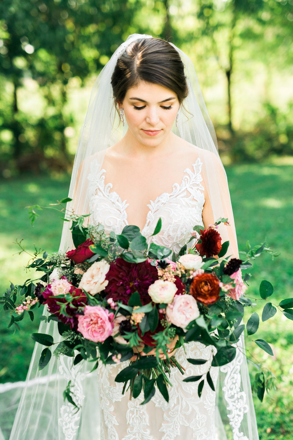 Ombre marsala bridal bouquet with dahlias, garden roses, and ranunculus // Nashville Wedding Florist