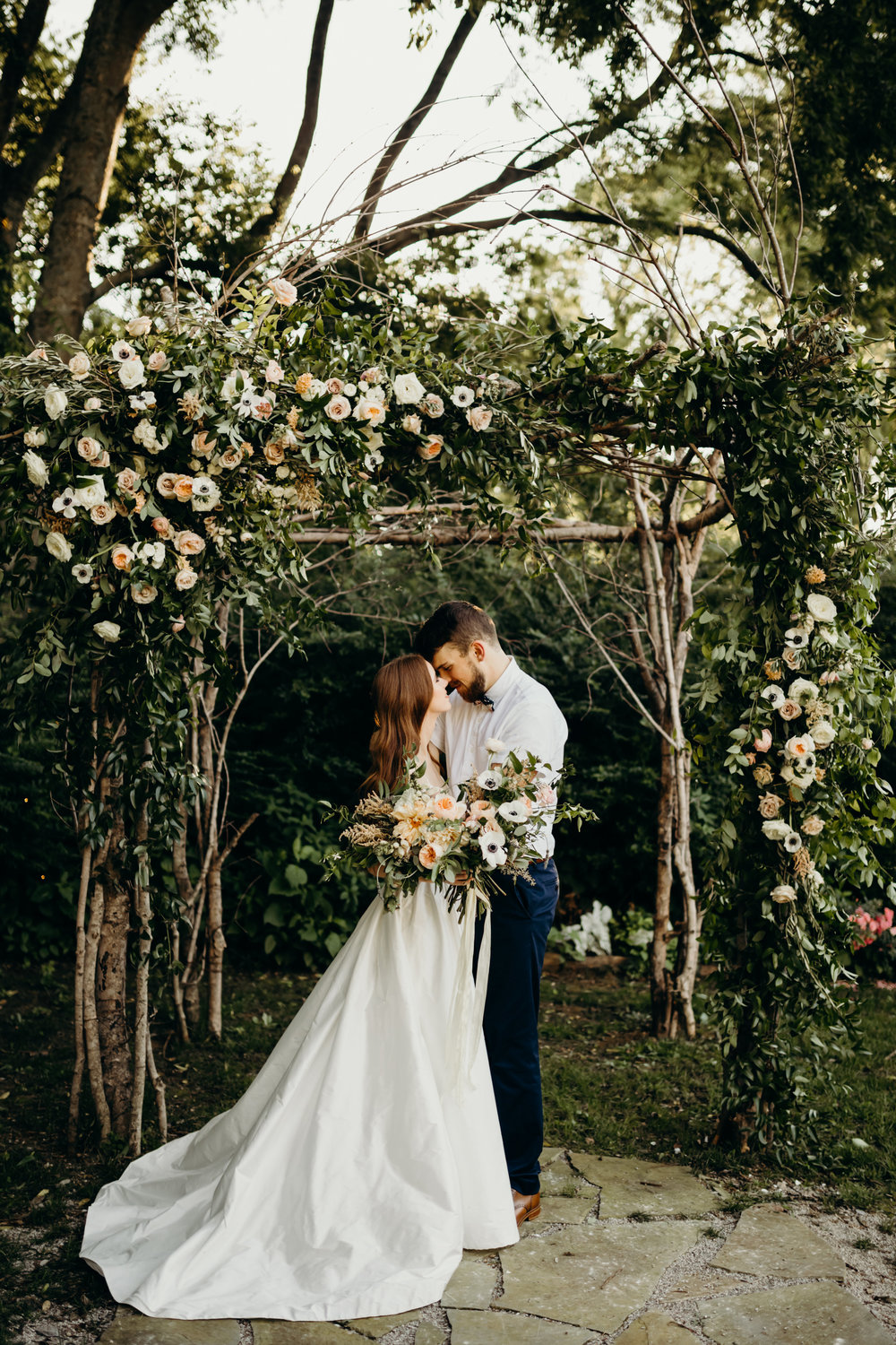 Meadow Hill Farm Wedding // Lush greenery and blush flowers on the arbor