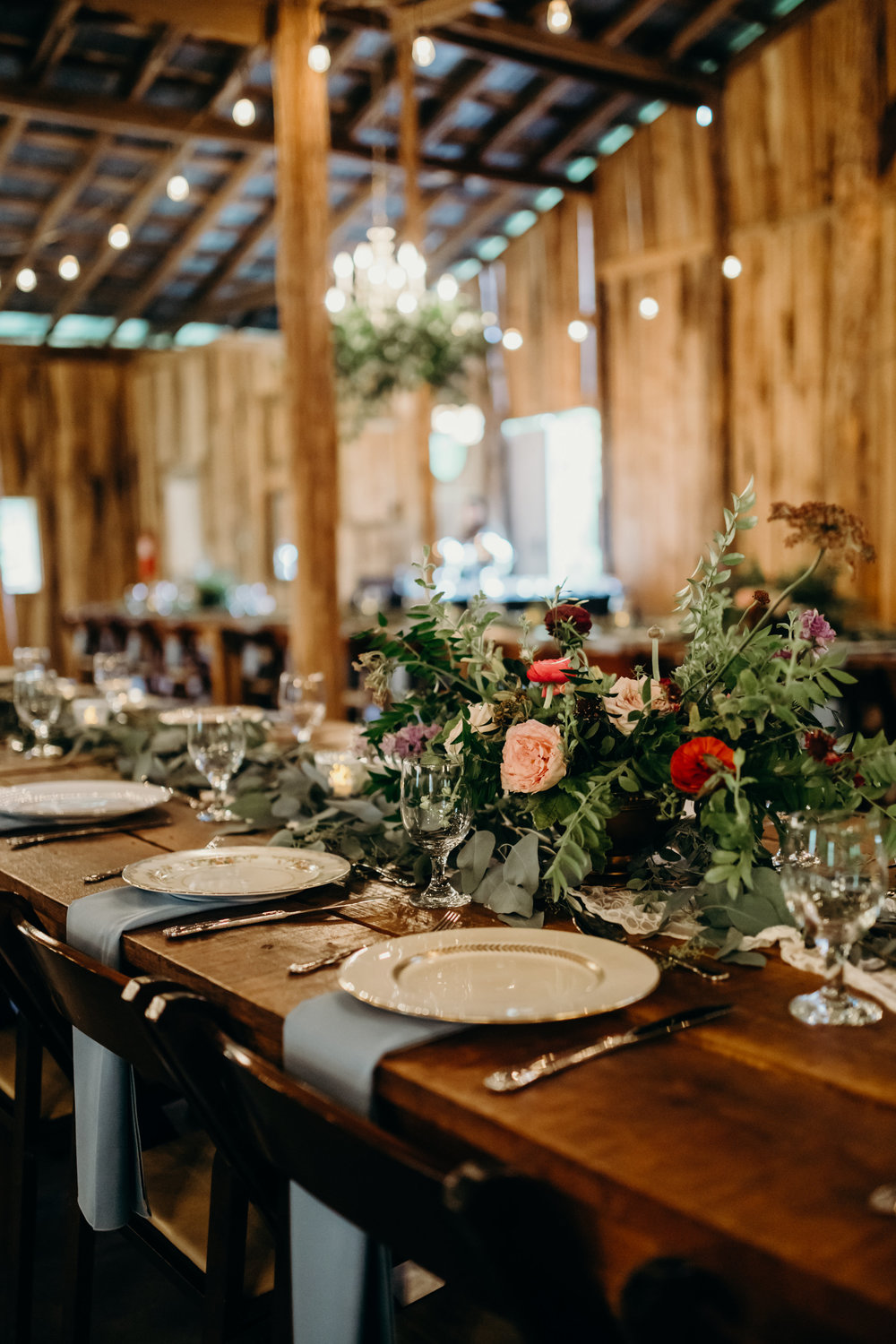 Greenery chandeliers and lush table garlands // Meadow Hill Farm Wedding