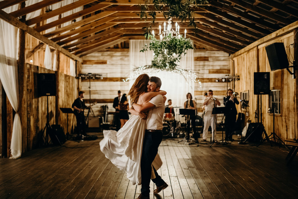 First dance under greenery chandeliers // Meadow Hill Farm Wedding, Nashville, TN