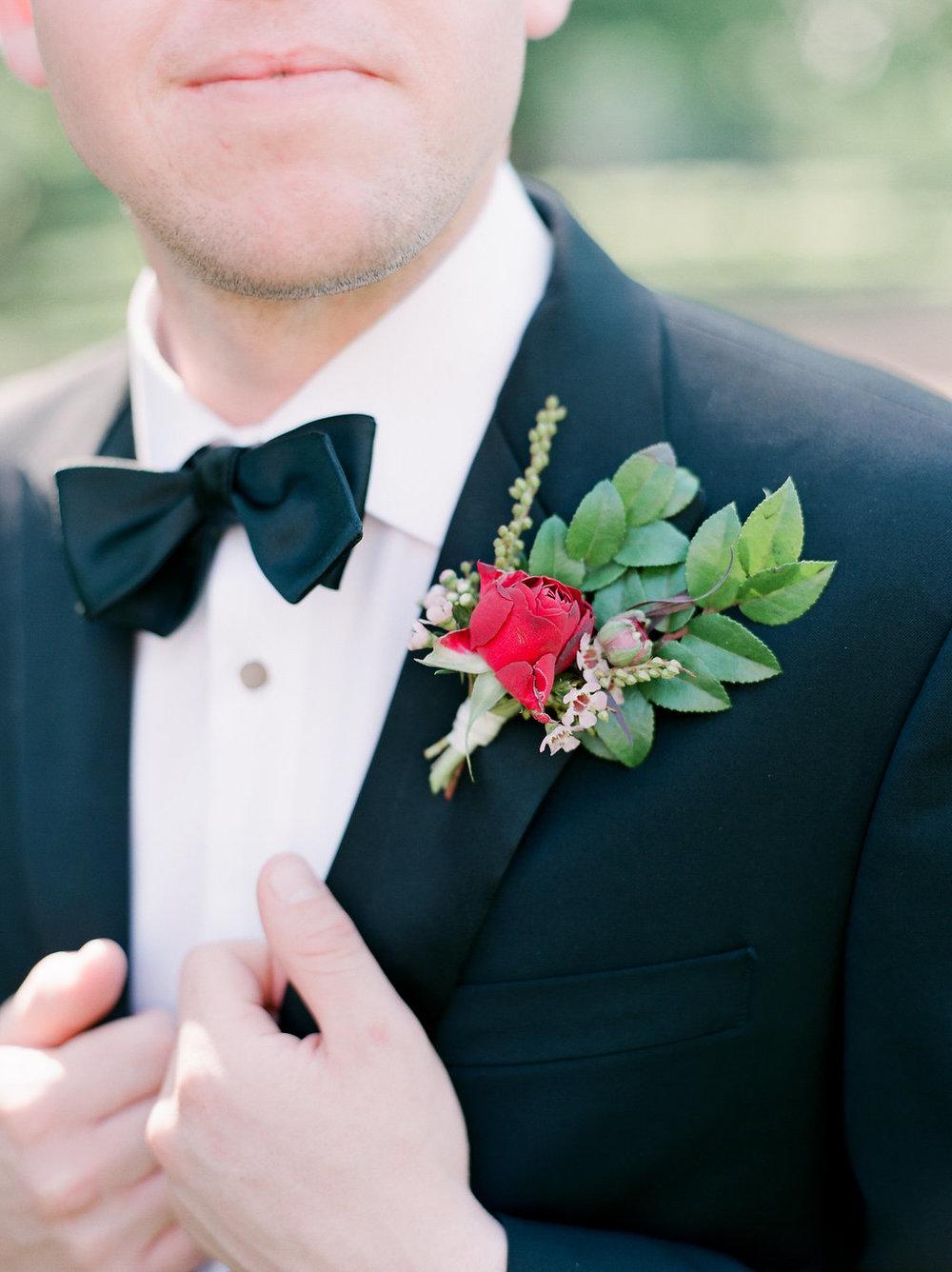 Burgundy groom's boutonniere // Nashville Wedding Florist