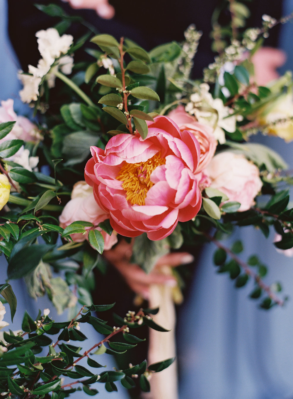 Coral charm peony in MOH bouquet // Franklin Wedding Floral Design