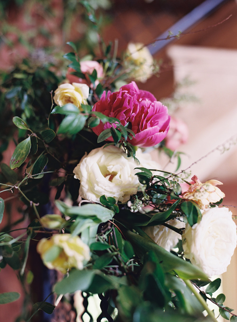 Homegrown pink peonies, garden roses, and tulips // Nashville Wedding Florist