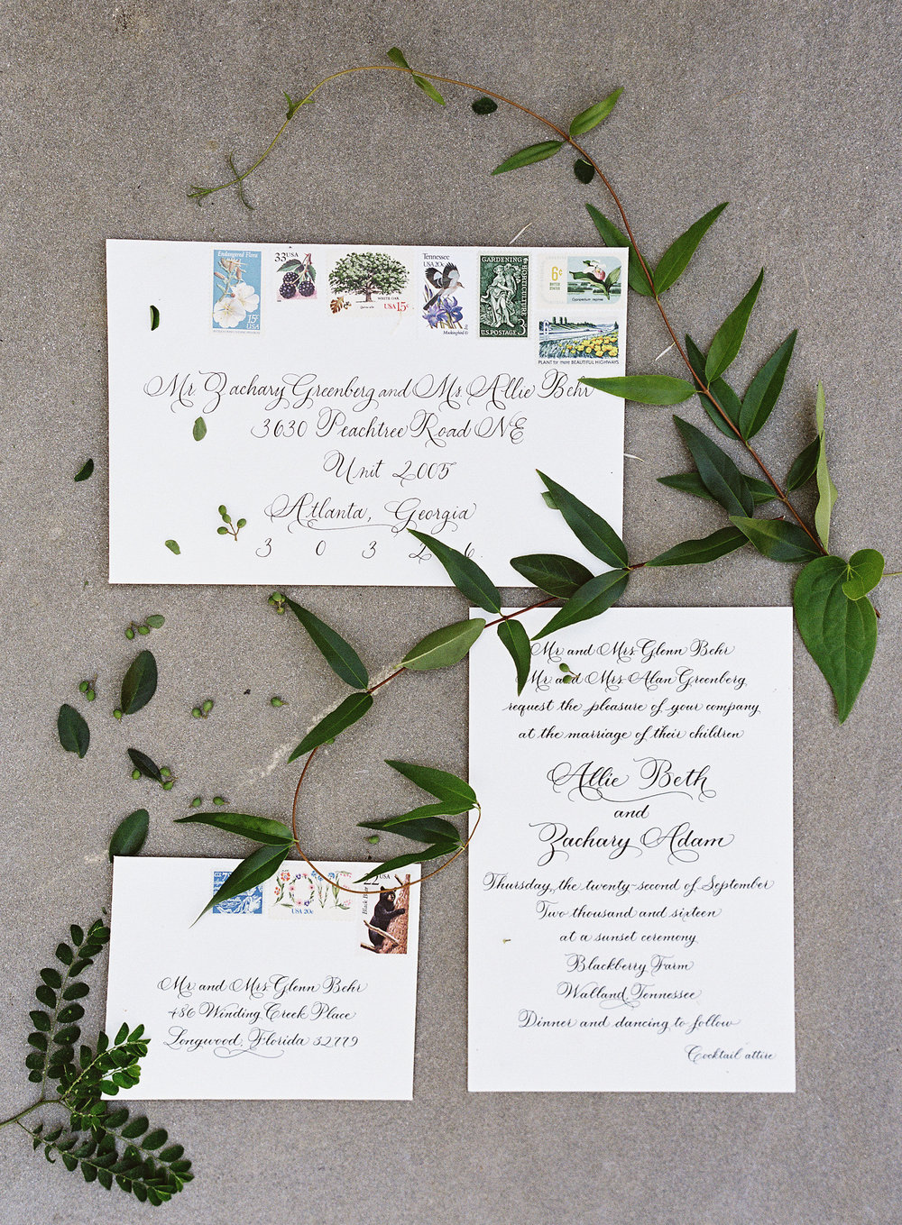 Elegant Invitation Suite // Blackberry Farm Wedding Floral Design