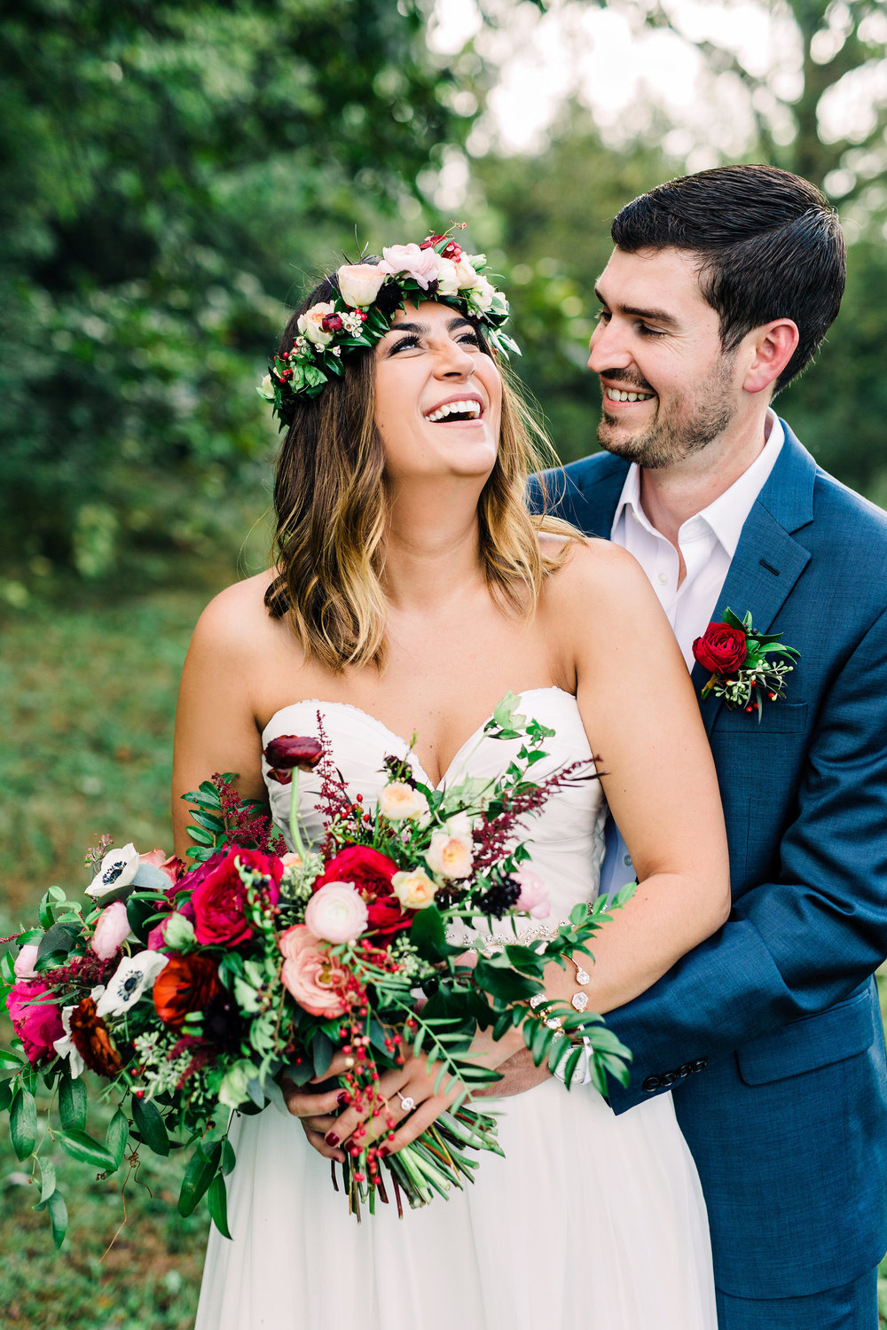 Lush, organic bridal bouquet with marsala ranunculus and garden roses // Nashville Wedding Florist