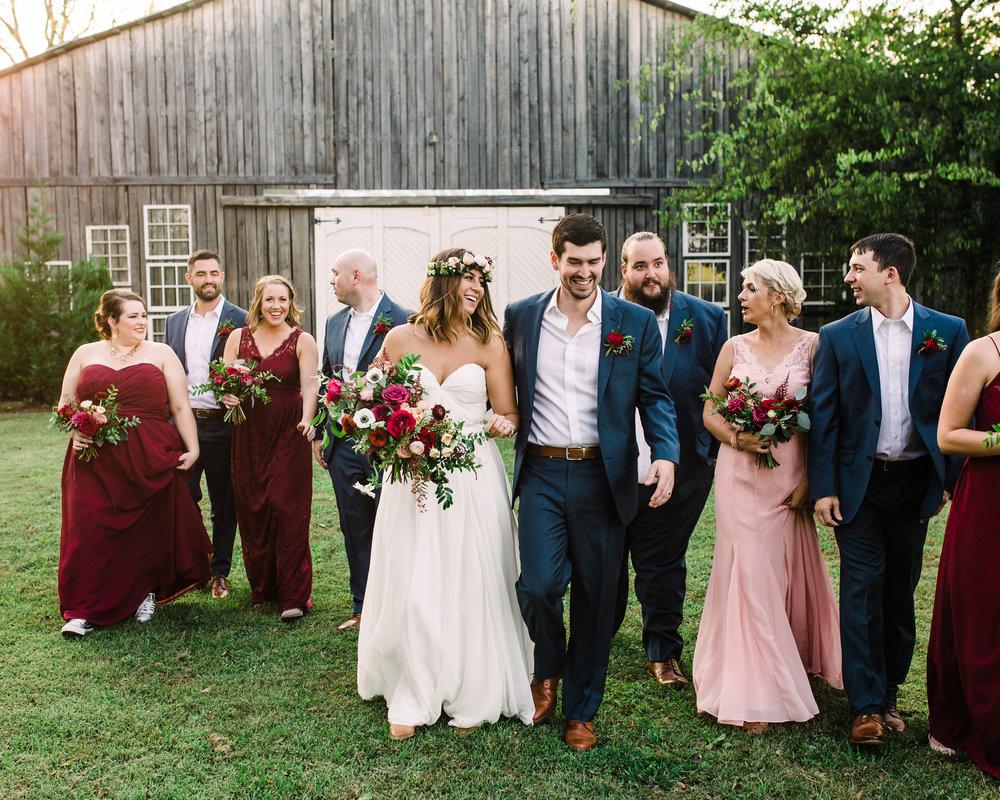 Burgundy/marsala bridal party style // Nashville Wedding Floral Design