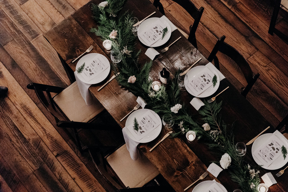 Lush evergreen garland table runners // Nashville Wedding Florist