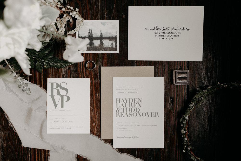 Alaska inspired invitation suite  // Nashville Wedding Florist