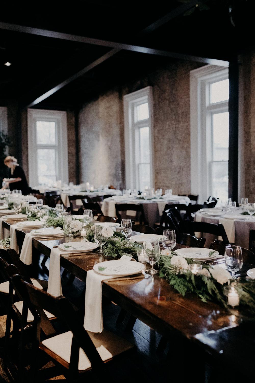 Lush cedar garlands with white floral accents // Nashville Wedding Florist