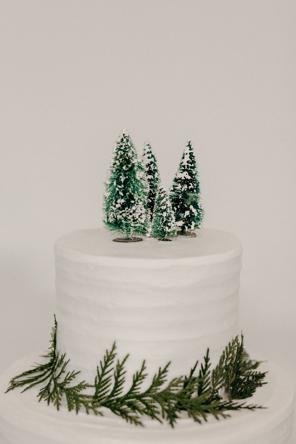 Simple white wedding cake with cedar accents and bottle brush tree topper  // Nashville Wedding Florist